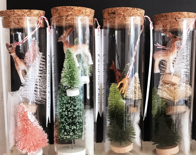 Christmas Cheer in a Bottle, bottle brush trees with vintage style deer