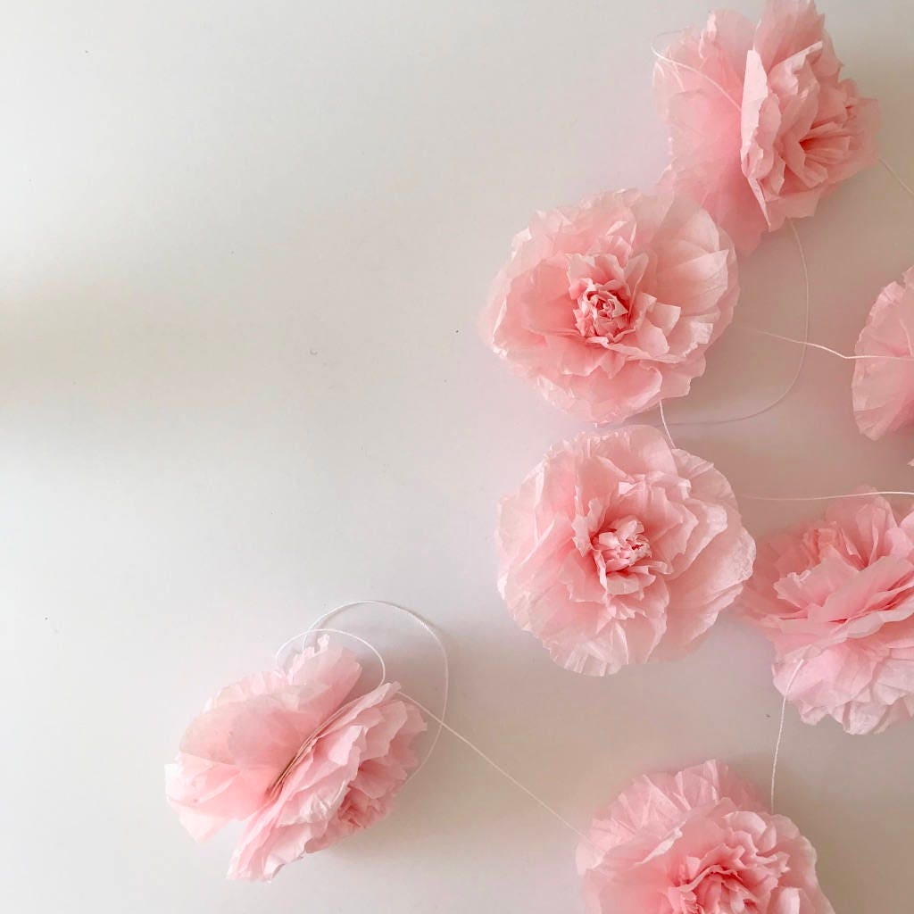 Rose Tissue Paper Garland For Parties Weddings Showers Home Decor