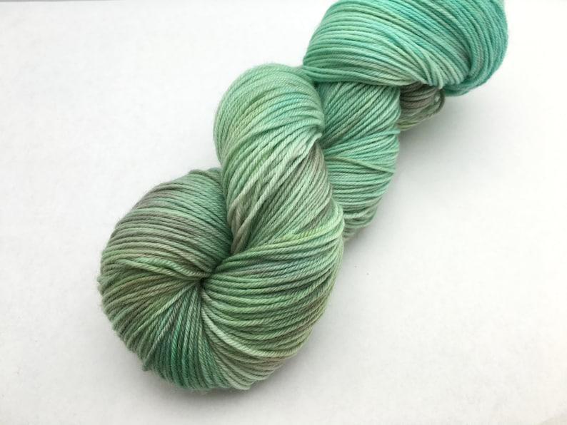 Hand dyed yarn Delicious sock 3 skein shawl kit /'Green Merricks/'