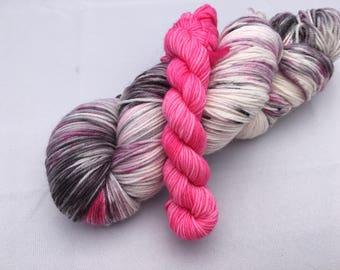 Hand dyed yarn Victoria sock with mini -'Flamingo'