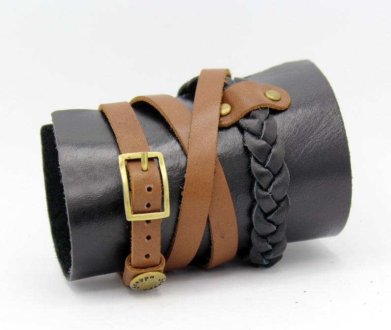 Chunky leather bracelet,wide wristband,Unisex men women bangle,Wrist Cuff band Leather casual jewelry Rocker biker gift steampunk NY-431