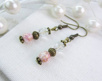 Blush Earrings, Blush Pink Earrings, Soft Pink Earrings, Pale Dangles, Antique Brass Earrings, Vintage Style Earrings