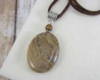 Picture Jasper Necklace, Suede Necklace, Bohemian Necklace, Brown Leather Necklace, Brown Boho Leather Necklace, Gift Ideas