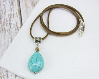 Turquoise Necklace on Leather Cord, Turquoise Pendant Necklace, 11th Anniversary Gift, Howlite Turquoise Jewelry, Christmas Gift for Her