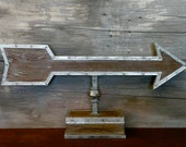 Weathervane Arrow Sign on Wrought Iron Stanchion with Wood Base