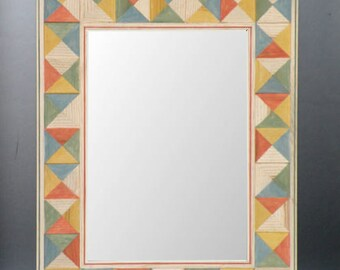 Painted Wood Mirror Frame with Multi-Colored Geometric Pattern