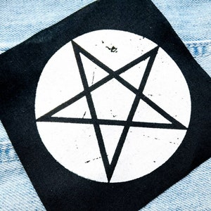 Pentagram patch inverted pentagram witchcraft occult patch wiccan witchy patch wicca punk patch pentacle patch gothic patch
