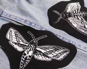 Moth patches - insect patch, bug patch, gothic animal patch, butterfly, goth patch, filler patch, occult, witch, horror, screen print patch