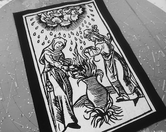 Witches back patch, large patch, medieval illustration, punk patch, witchy gift, occult back patch, sew on patch for jacket, wicca,