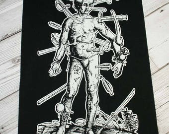 Pain back patch - black metal back patch, goth back patch, heavy metal patch, death metal patches, black magic patch, medieval art wound man