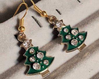 Green Christmas Tree Earrings - Christmas Earrings