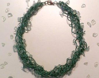 Green crochet necklace with pherinite chips beads, gift for her, Christmas gifts, jewelry for her, handmade, birthday, ooak, nickel free