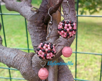 Black pink ball  pendants earrings with crystals satin, handmade and ooak, gift for her, jewels for her, anniversary, nickel free