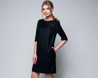 Black straight wool office dress