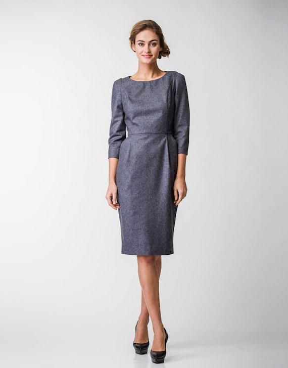 Wollkleid Grau Büro Kleid Businesskleid Warmes Kleid Etsy