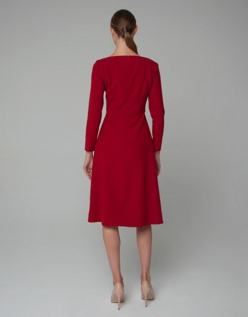 3c6209941dc7 Abito in lana vestito rosso ufficio vestito vestito da