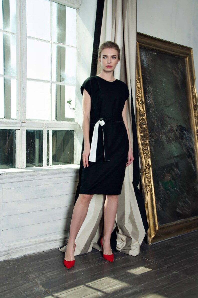 a7160c3913bb0 Cotton dress, little black dress, office dress, business dress, summer  dress, cocktail dress, party dress, black dress, straight dress, 080