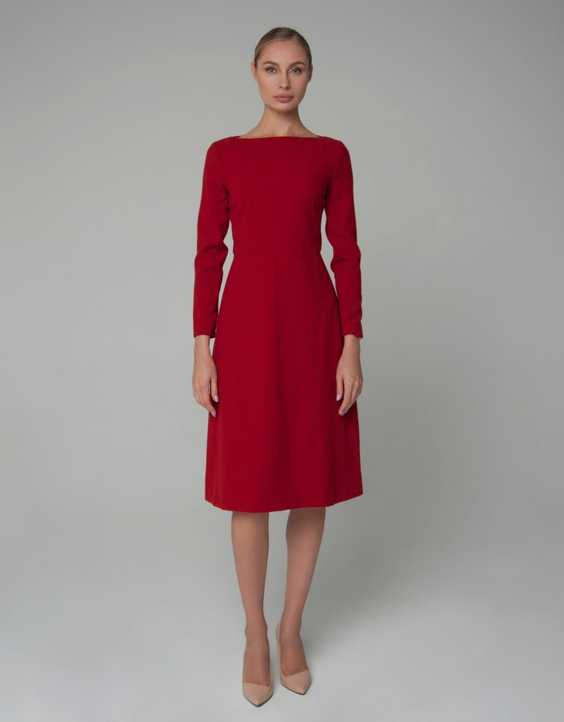 f45c371e403 Wool dress red dress office dress business dress fit and