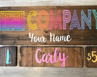 Wood Product Sign- Custom Clothing Sign- Unicorn Sign - Style and Size Sign