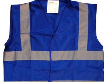 Blue Hi Visibility Reflective Safety Vest  Ideal For Printing