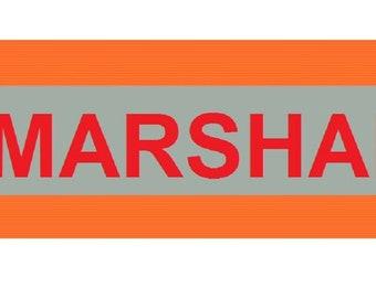 "Printed ""MARSHALL"" Reflective Armbands Wide Reflective Sports Safety Hi Visibility Walking ID  Orange"