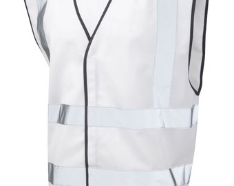 White Safety Reflective Hi Visibility Vest, 6 Sizes, Riding, Hen Nights etc6