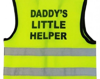 """Baby  Yellow Vests Printed """"DADDY'S LITTLE HELPER"""" Reflective Waistcoat Hi Visibility  Safety"""
