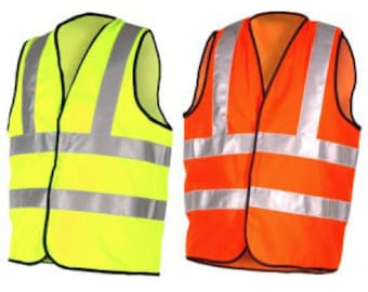 Hi Viz Safety Reflective Hi Visibility Vest, 6 Sizes, Safety Work Wear Sports Riding 7 Sizes Small-4XL Yellow or Orange