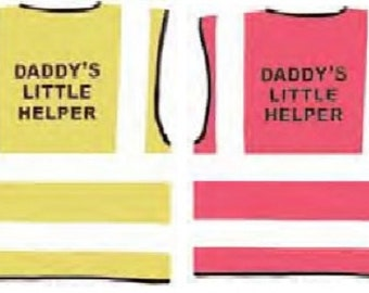 """Child Hot Pink Vests Printed """"DADDY'S LITTLE HELPER"""" Reflective Waistcoat Hi Visibility"""
