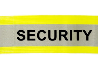 """Printed """"SECURITY"""" Reflective Armbands Wide Reflective Sports Safety Hi Visibility Walking ID  Yellow"""