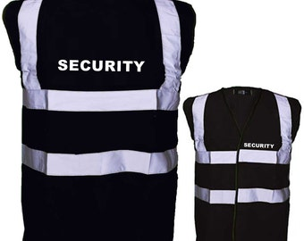 """Black Security Safety Reflective Hi Visibility Vest, Printed on rear and Front Left Breast """"SECURITY"""""""