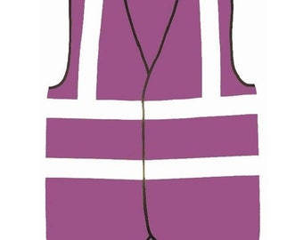 Purple Safety Reflective Hi Visibility Vest, 6 Sizes, Riding, Hen Nights etc6
