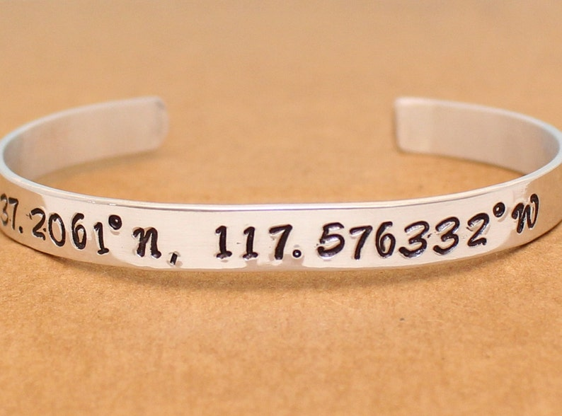 Geographical Coordinates Bracelet Personalized Sterling Silver Cuff Latitude and Longitude