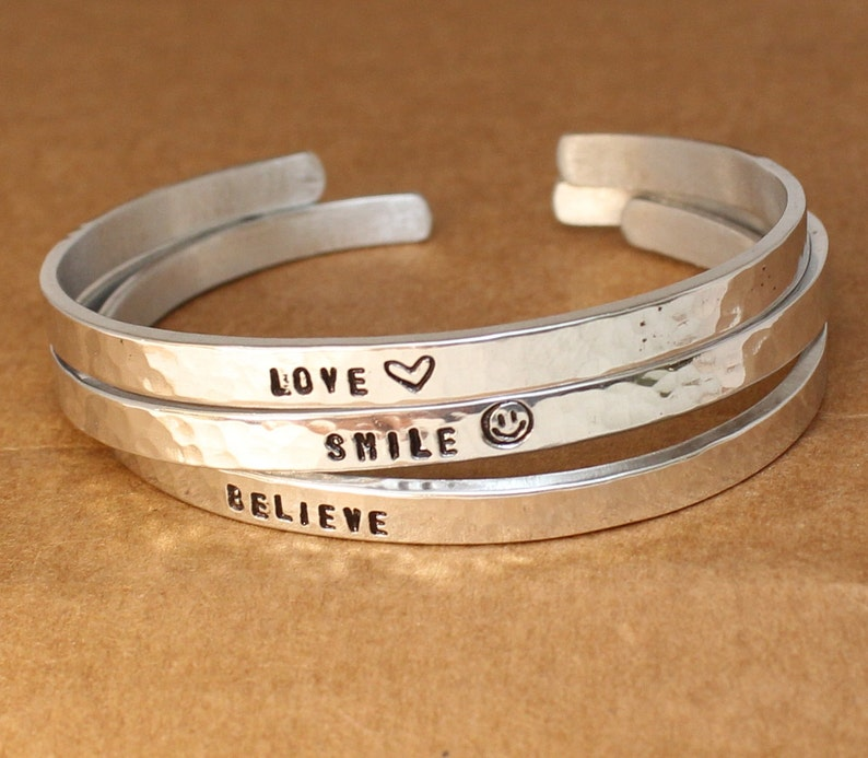 Sterling Silver Cuff. Enter You Text -Hammered Set of 2 bracelets.. Handmade Two Personalized Sterling Silver Bracelet