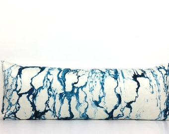 "Indigo Blue & White Marble Pattern Pillow Cover - 13"" x 35"" LUMBAR - Ready To Ship - Pierre Frey - Indigo Blue Marble - Designer - High End"