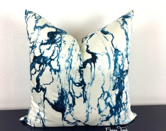 Indigo Blue and White Marble Pattern Pillow Cover - Pierre Frey - Choose 1 OR 2 SIDED - Indigo Blue Marble - Designer - High End