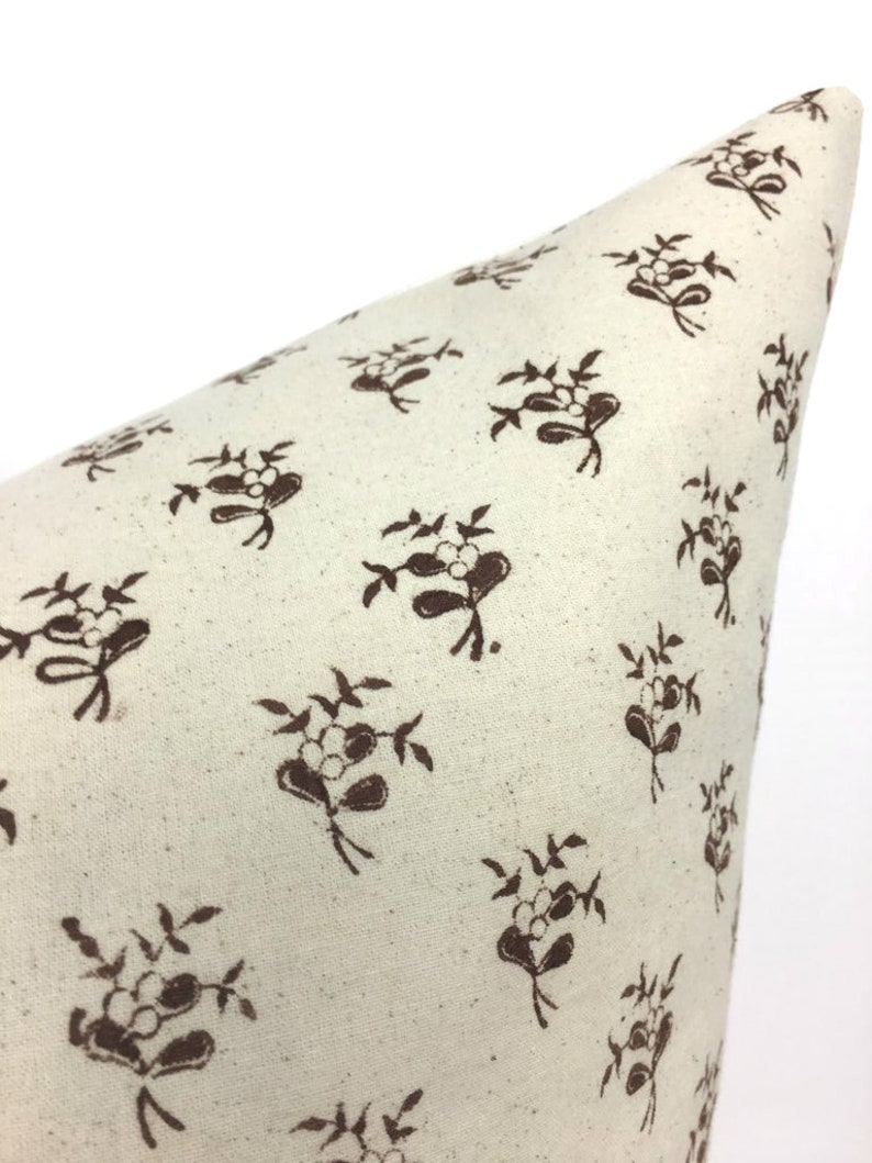 Coffee Designer Chocolate Brown on IvoryLight Natural Pillow Cover High End   Hand Block Print Modern Boho 1 OR 2 Sided