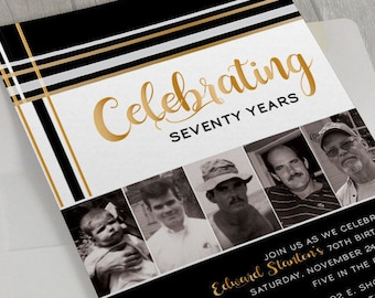 Modern Birthday Party Invitation, Photo Invitation, Masculine Invite, Milestone Birthday, 40th 50th 60th 70th Birthday, 50th Bday, DIGITAL