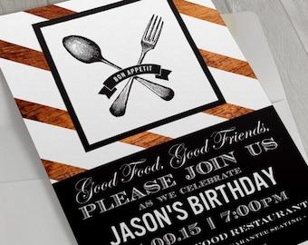 Dinner Party Invitation, Cocktail Party Invite, Rehearsal Dinner Invitation, Farm to Table Dinner Party, Bon Appetite Printable Invite
