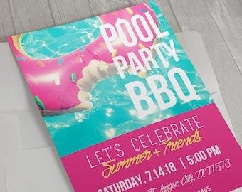 Pool Party Invitation, BBQ Invitation, Summer Birthday, BBQ Invite, Backyard Party, Adult Birthday, 30th Birthday, Pink Party, Pool Party