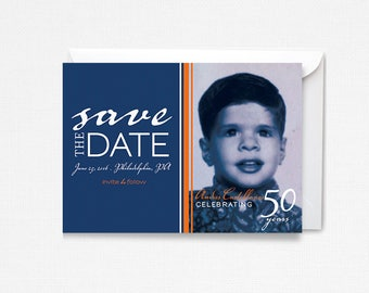 Party Save the Date 30th 40th 50th 60th 70th Birthday, Modern Photo, Old Photo, Masculine Invite, Preppy, Celebration, Photo Save the Date