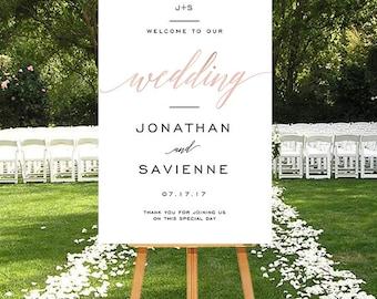 Wedding welcome sign blush, Printable modern wedding Sign, DIGITAL wedding sign, Large Wedding Sign, Modern script Wedding Welcome Sign