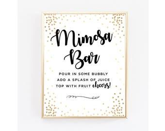 Digital Mimosa Bar Sign, Gold Mimosa Bar Sign, Instant download, Bridal Shower Champagne Sign, Bubbly Bar Printable sign, Gold Shower Decor