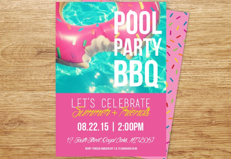 Pool Party Invitation BBQ Summer Birthday