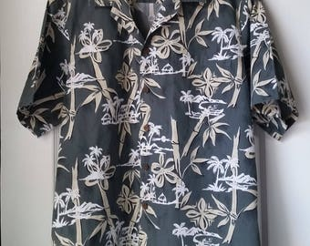 688100bf Hawaiian Shirt VINTAGE BISHOP STREET Men's L Gray With Bamboo Tiki and  Outriggers