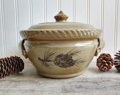 STONEWARE CROCK Handmade Rowe Pottery Works Lidded Crock Stoneware Jar