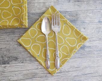 Linen Napkin Fabric Napkins Erik 4 pieces 44 x 44 cm Dark Yellow ochre