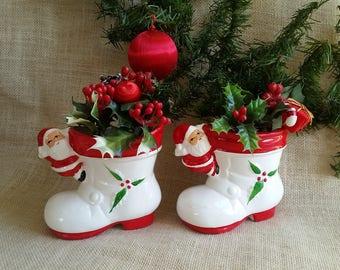 santa boot planters vintage set of 2 santa claus christmas planters christmas vases christmas decor vintage holiday decor