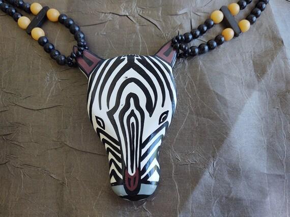 ZEBRA Necklace Tribal Zebra Jewelry Pendant Neckla