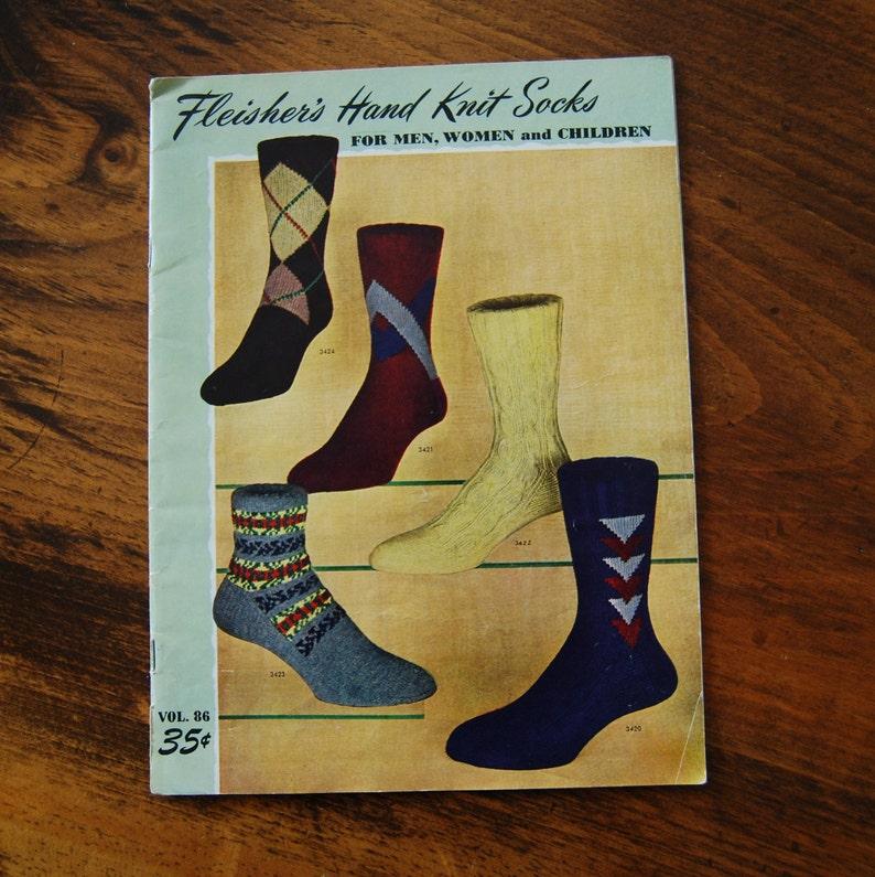 1950 Socks Knitting Patterns Men Women And Children Vintage Etsy